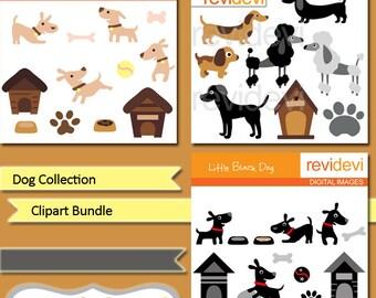 Dog clipart sale bundle / puppy, puppies clip art commercial use / foot prints, dog house, poodle, puddle clipart commercial use