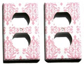 Set of 2 Pink White Damask Set Decorative Electrical Outlet Cover Chic Paris Bedroom Room Decor Wall Decor