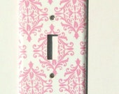 Chic Pink and White Damask Light Switch Cover, Paris Bedroom Decor, Decorative Switchplate (MTO)