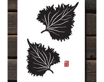 "Shiso Leaves 11""x14"" Letterpress Art Print"