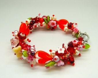 Sweet Love Flowered Garden Bracelet One of a Kind