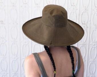 Floppy Hat in Olive Green Cotton - Womens Hats, Mega Brim Hat, Womens Sunhat, Summer Fashion, Beach Hat, Stylish Summer Hat, Summer Style