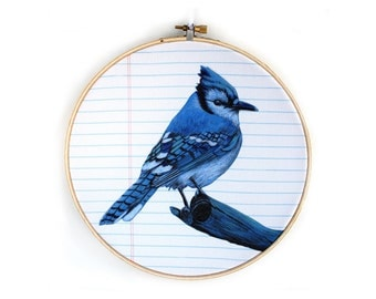 Embroidery Hoop Art - Bluejay Wall Hanging
