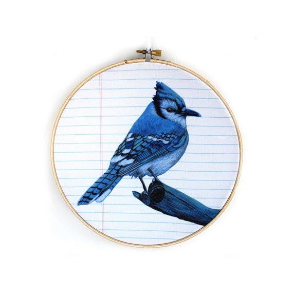 Embroidery hoop art bluejay wall hanging