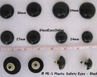 5 PAIR 24mm or 27mm or 30mm or 34mm BLACK Safety Eyes Extra Large for Teddy Bears, Dolls, Puppets, Monsters,  Sewing, Crochet ( PE-1 )