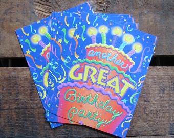 Vintage Birthday Party Invitations - Set of 16