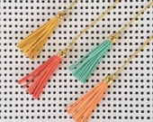 Tassel and Gold Necklace - Yellow, Tangerine, Coral, Seafoam with Gold Plated Cable Chain Necklace
