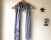 """Little Women Quote """"I am not afraid of storms..."""" Book Scarf in Grey. Made To Order"""