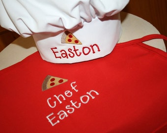 Pizza Party!- Personalized embroidered Kids apron & chef hat set- 2 youth sizes available