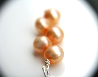 Peach Pearl Necklace . Peach Bridesmaid Jewelry . Peach Necklace . June Birthstone Necklace Wire Wrap - Hargrove Collection