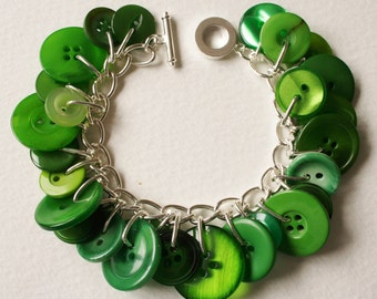 Button Bracelet Garden Greens