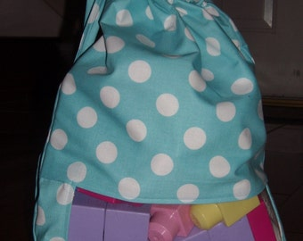 Aqua polka dot peek a boo toy sack