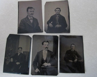 5 Antique Tintypes dapper gentlemen