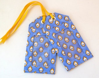 luggage tag - french provencal - blue and yellow - travel accessories - save the date - party favors - ID holder