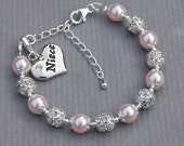 Gift for Niece, Niece Charm Bracelet, Niece Jewelry, Pick Your Own Color, Gift from Aunt, Under 25, Family Jewelry, Niece Gift