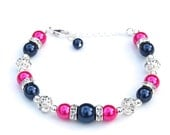 Bridesmaid Jewelry, Navy and Pink Pearl Rhinestone Bracelet, Bridesmaid Gifts, Bridal Party, Bling Bracelet