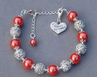 Happy Retirement Gift,  Retirement Jewelry, Retirement Present, Happy Retirement Charm Bracelet, Retirement Gift for Women