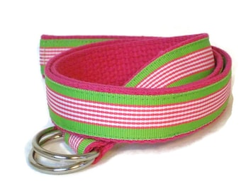 Pink and Green D-Ring Belt Girls Canvas Belt / Preppy Striped Belt / Ribbon Belt for toddlers girls and women - Pink and Green Stripe