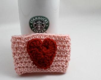 Crochet Coffee Cup Cozy- Valentines cozy- Love- Heart Cozy