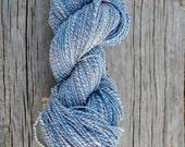 Handspun Yarn in Big Sky Blues - Merino Silk And Bamboo. Plied Marl Handspun Yarn - Soft & Silky, Fingering Weight for Knit Craft ~190 yards
