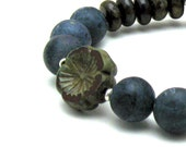 Blue Brown Pansy Bohemian Beaded Bracelet with Sterling Silver