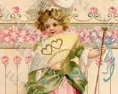 Valentine Girl in Pink with Fan of Two Hearts Antique Postcard Digital Printable