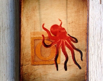 Vintage Toy O is for Octopus Art/Photo - Wall Art 4x6