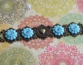 Mother's Day Gift, Anniversary Heart Bracelet, Blue Heart Charm Jewelry, Turquoise Flowers Blue Bracelet, Mid Century Style Bracelet, SRAJD