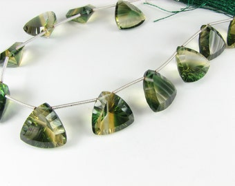 AAA Luxe Green and Yellow Quartz Concave Triangle Trillion Gems 15mm - 16mm  (Matched Pair for earrings)