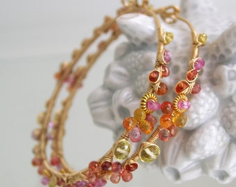Pink Ruby Sapphire Hoops, Gold Filled Earrings, Wire Wrapped Hoops, Artisan, Ruby, Tangerine, Original Design, Signature, Made to Order