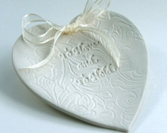 """Wedding Ring Dish,Heart Ring Dish, Ceramic wedding Ring holder, """" To Have and To Hold, Lacy Background, Choice of Round or Heart"""