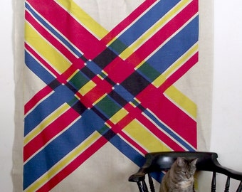 Mid Century Art Fabric HUGE Canvas Printed Panel 80 X 53 Inches Modern Art Hanging
