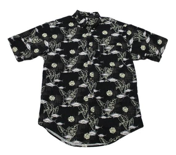 Vintage 90s black fish print button down shirt mens size for Button down fishing shirts