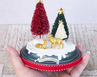 ooak handmade bottlebrush tree and deer christmas decoration