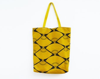 Mustard yellow and black cotton fan fabric canvas tote bag