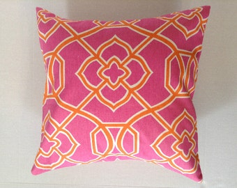 Decorative Throw Pillow Cover - Dorm Porch Pillows - Beach Pillows - Summer Pillow Cover - 18 x 18 - Pink Throw Pillow One (1) Cover