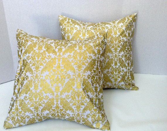 White and Gold Damask Pillow Covers/Throw Pillow by AggieRay