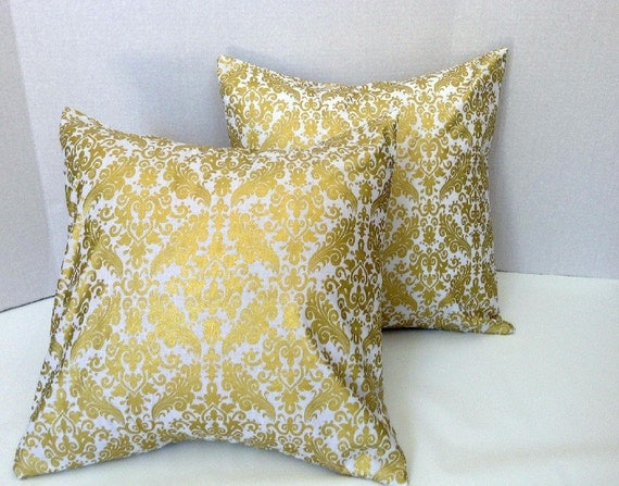 Gold Damask Throw Pillow : White and Gold Damask Pillow Covers/Throw Pillow by AggieRay