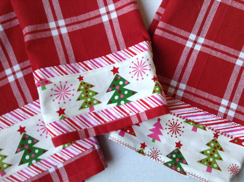 Sale Three Holiday Christmas Kitchen Towels Handmade Tea