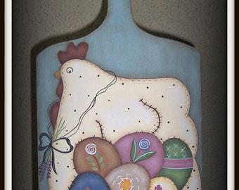 Primitive Chicken Hen Egg Cutting Wood Cutting Board Kitchen Wall Art