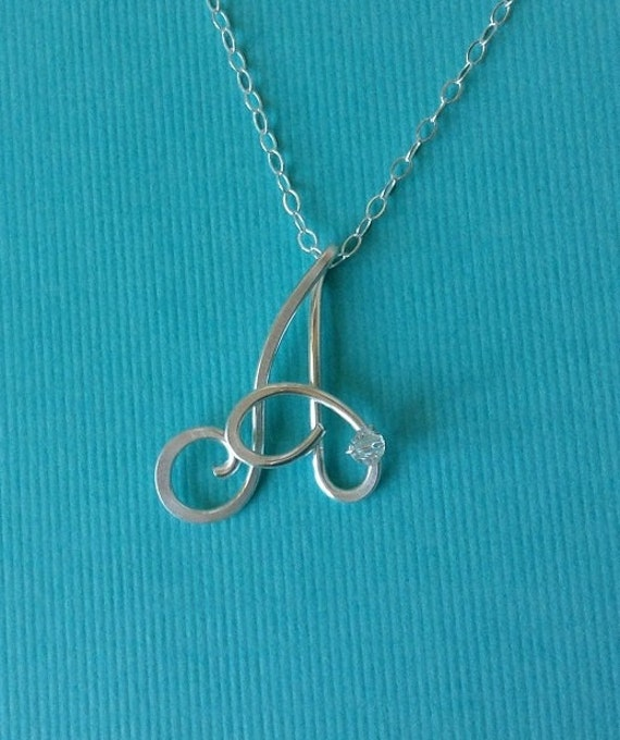 Custom Letter Necklace (Sterling Silver), Initial Necklace, Custom initial pendant necklace, Wire Jewelry