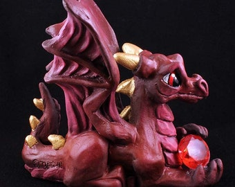Happy Dragons Birthstone Dragon January Dragon Statue Figurine Sculpture Fantasy Art by Nina Bolen