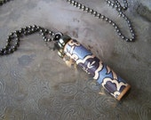 SALE...Wooden Necklace Pendant ~ Upcycled PIANO ~ Blue and White