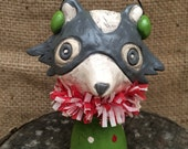 Christmas Raccoon Folk Art Sculpture in white green and red Ready to ship