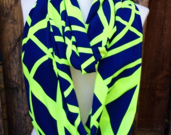 Seahawks Infinity Scarf, Seahawks scarf, Lime Green & Navy Blue Women's scarf, Girls Scarf, Navy and lime scarves, Seattle Football scarf