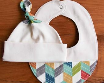 Organic Baby Hat and Bib Gift Set in OFFSET, Chevron Newborn Baby Cap and Drool Bib Gift Set by Organic Quilt Company