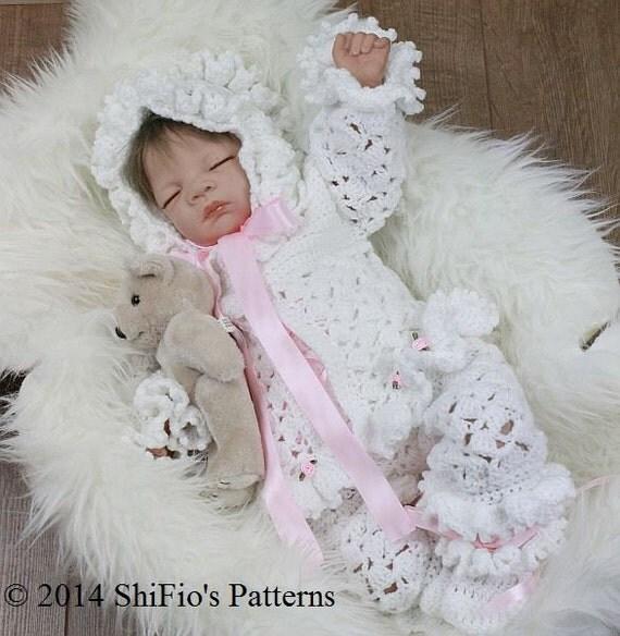 CROCHET PATTERN For Sherbet Baby Jacket, Pants, Bonnet & Booties PDF 10  Digital Download