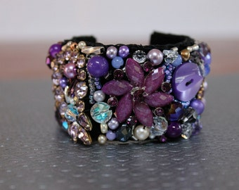 Beaded bracelet, hand stitched cuff, statement bracelet, purple bracelet, wedding jewelry, bridal bracelet FREE SHIPPING