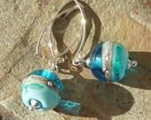 Deep Blue Sea earrings ... handmade glass and silver ... by Lush Lampwork UK SRA