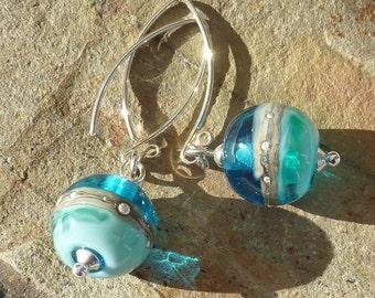 Deep Blue Sea earrings ... handmade glass and silver ... UK SRA